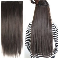 "Fashionable 23"" Straight Full Head Clip in Hair Extensions - Dark Brown:Amazon:Beauty"
