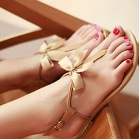 Leather Flip Flat Sandals from sniksa