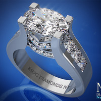 Engagement Ring - Horizontal Oval Diamond Engagement ring princess diamonds band - ES550-PRWG