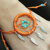 Orange Dream Catcher Bracelet with Silver Feathers