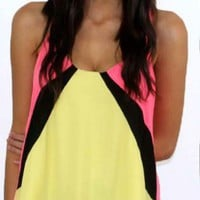 Yellow Pink and Black Racerback Tank with Sequin Hemline