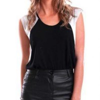 Black Faux Leather Pencil Mini Skirt