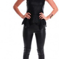 Black Sleeveless Peplum Top with Zipper Back Detail