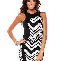 Papaya Clothing Online :: CHEVRON PATTERN BODYCON DRESS