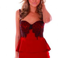 Red Sleeveless Peplum Mini Dress with Sweetheart Neckline