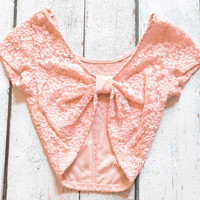 Venetian Lace Coral Bow Back Peach Crop Top