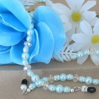 Turquoise Glass Pearl Eyeglass Holder | pattysdreamdesigns - Accessories on ArtFire
