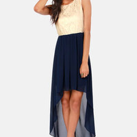 It's High-Low Time Cream and Navy Blue Lace Dress