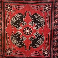Batik Elephant 4 Tapestry Red  - Mellow Mood