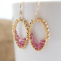 Pink Tourmaline Dangle Earrings, Pink Drop Earrings, Pink Earrings, Gold Earrings, Wire Wrapped Earrings