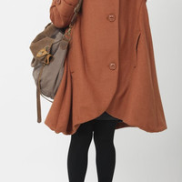 dark orange cloak wool coat Hooded Cape women Winter wool coat