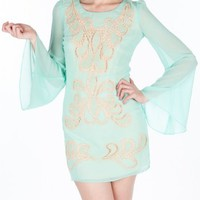 Keyhole Chiffon Embroidery Dress