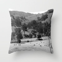 Hay Bales Throw Pillow by Chris Chalk