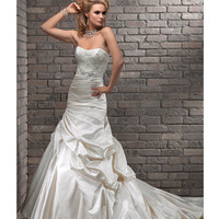 Maggie Sottero Spring 2013 - Elizabeth Alabaster Satin &amp; Corded Lace Wedding Gown - Unique Vintage - Prom dresses, retro dresses, retro swimsuits.