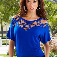Cobalt Blue Cut out sparkle top  from VENUS