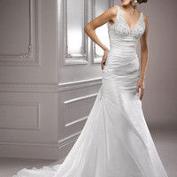 Diamond White Gathered Taffeta Beaded Tank Bliss Wedding Gown - Unique Vintage - Prom dresses, retro dresses, retro swimsuits.