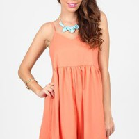 Peach Sleeveless Oversized Playsuit with Lace Hemline