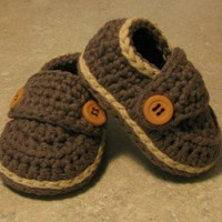 Baby Boy Little Button Cotton Loafers Sizes  Newborn by LandyKnits