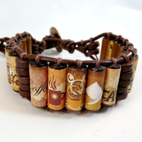 Coffee Cuff Bracelet  Brown Leather Wood by ElectricPenguin