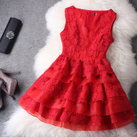 Hollow out Lace V-neck Dress