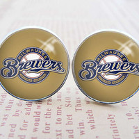 Mens Cuff Links , Silver MLB Milwaukee Brewers Logo Cufflinks , Gift Box