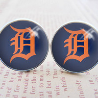 Mens Cuff Links , Silver MLB Detroit Tigers Logo Cufflinks , Gift Box