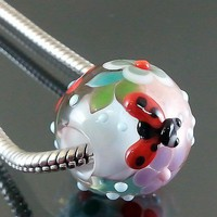 Handmade lampwork 1 bead-Charm Bead-flower ladybug-Find Christmas-SRA | pikalda - Jewelry on ArtFire