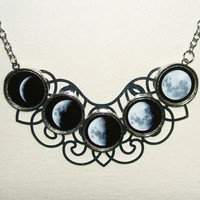 MOON PHASES Necklace Moon Goddess Statement Altered Art by artalot