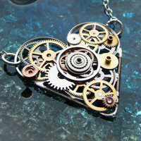 Steampunk Heart Necklace Embrace by amechanicalmind