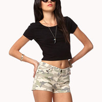 Life In Progress Camo Denim Shorts