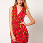 Ruby Rocks Feather Print Wrap Dress at asos.com