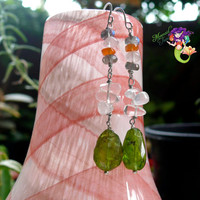 Gemstone Earrings Peridot Jewelry Labradorite Rose Quartz Carnelian made in Hawaii