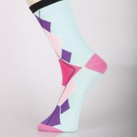 Argyle Abstract Novelty Crew Socks- 6 pairs