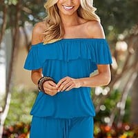 Sexy Ruffle off the shoulder romper  from VENUS