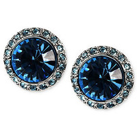 Givenchy Earrings, Silver-Tone Aqua Swarovski Element Button Earrings - Fashion Earrings - Jewelry & Watches - Macy's