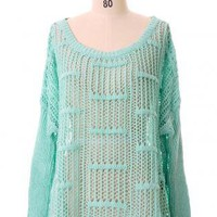 Green Sweater - Oversized Mint Green Cut Out | UsTrendy