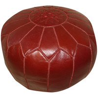 Burgundy Moroccan Leather Pouf