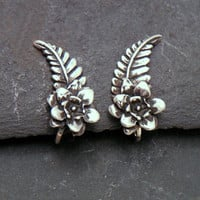 Sterling EAR PINS PETALS Silver Flower &amp; Leaf by SunnySkiesStudio