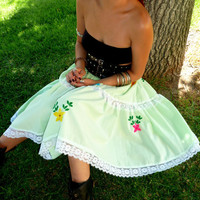 SPRING SALE, Limited time, Mexican Embroidered Tier Green Skirt, Folk Clothing, Vibrant Yarn Embroidery, Mexi Skirt, Ethnic Clothing
