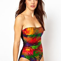 ASOS Bold Graphic Print Bandeau Swimsuit at asos.com