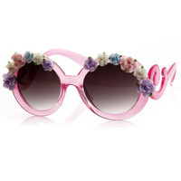 Oversize Baroque Swirl Arm Flower Floral Sunglasses 8852