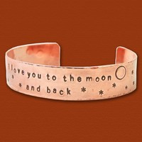 To the Moon - Hand Stamped Copper Cuff Bracelet - One Half Inch | PangaeaDesigns - Jewelry on ArtFire