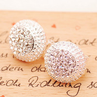 Shiny Rhinestone Cap Earrings