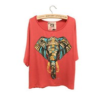 Elephant Batwing Loose T-shirt For Women