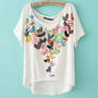 Peach Heart Two-sided Print Loose Short T-shirt