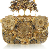 Alexander McQueen | Knuckle embroidered satin and tulle box clutch | NET-A-PORTER.COM