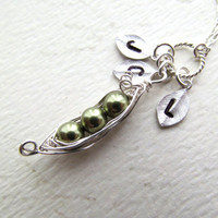 Personalized Peas in a Pod Necklace Leaf by BlueDoveStudio on Etsy