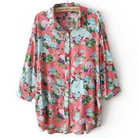 Vintage Flower Loose Half Sleeve Fashion Shirt
