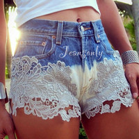 Lace shorts,high waist ombre lace shorts,lace denim  shorts by Jeansonly