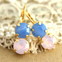 Rhinestone earrings Pink blue opal bridesmaids earrings - 14k Gold plated real Swarovski rhinestones